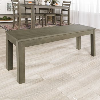 New 4 Foot Long Homestead Simple Dining Bench - Aged Grey Finish