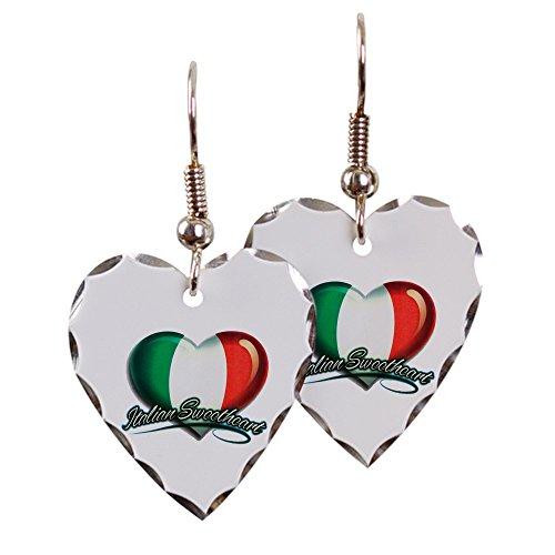 Earring Heart Charm Italian Sweetheart Italy Flag