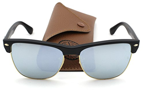 Ray-Ban RB4175 Clubmaster Oversized Flash Lens Unisex Sunglasses (Bronze Copper Black Frame/Silver Flash Lens 877/30, 57)