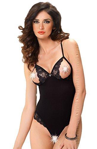 27a93084bb07a ierlingerie Noir Sexy Body érotique sans Entrejambe modèle bonnet ouvert  soutien-gorge croisé arrière sans