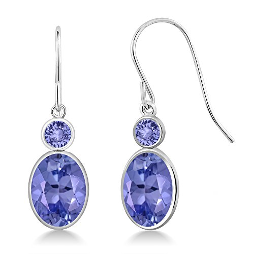 2.56 Ct Oval Blue Tanzanite 14K White Gold Earrings (Jewelry Ring Tanzanite White Gold)