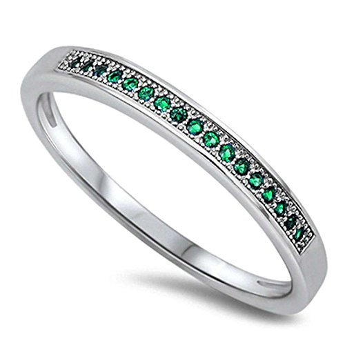 2.5mm Half Eternity Wedding Engagement Band Ring Round Square Cut Simulated Emerald 925 Sterling Silver