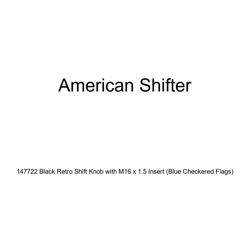 American Shifter 147722 Black Retro Shift Knob with M16 x 1.5 Insert Blue Checkered Flags