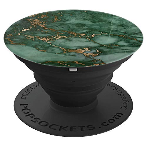 - Elegant Dark Jewel Tone Forest Green & Copper Marble Pattern - PopSockets Grip and Stand for Phones and Tablets