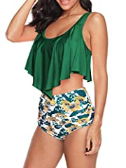 Swimsuit for Women Two Pieces Bathing Suits High Waisted Tummy Control Bikini Swimsuits Top with Swim Bottom  Material:   82%Polyester + 19%Spandex, soft stretch quick-drying high quality fabric, very comfortable to wear.Size:   Please selec...