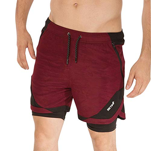 (Men's Summer Sports Fitness Breathable Quick-Drying Shorts Sport Short, MmNote Red)
