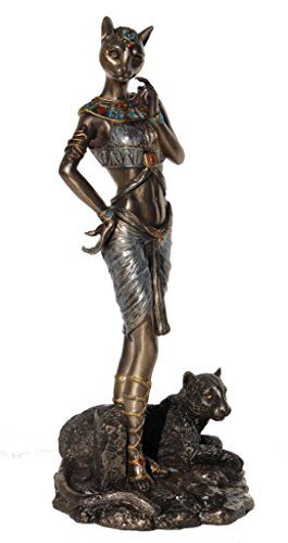 Bastet With Panther Statue 11 3/4 Inch Tall