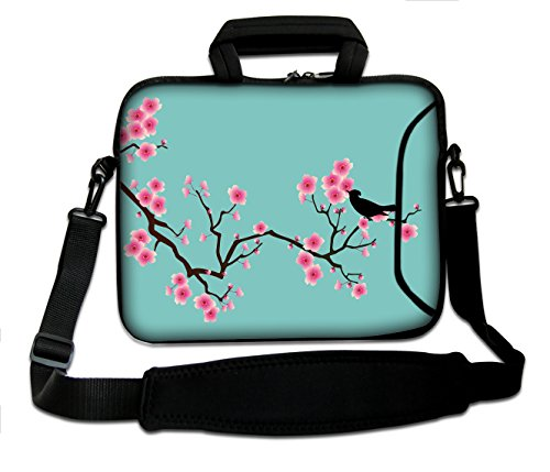 (Luxburg 13-Inch Messenger/Shoulder Strap Laptop Bag with Handle, Soft, Blue Sakura Design)