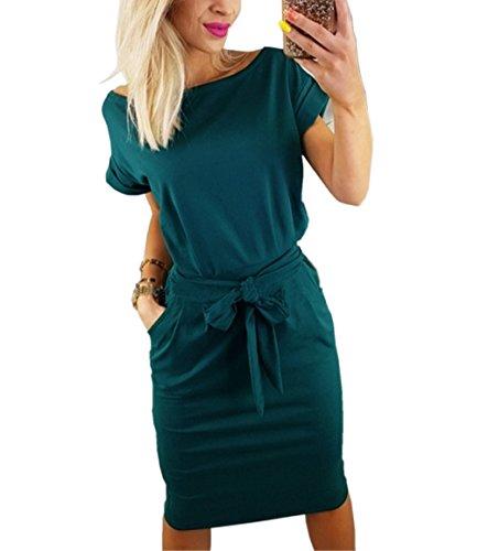 Asskdan Women's Casual Short Sleeve Knee Length Belted Dress with Pockets (Navy Blue(Prime), - Dress Shirt Belted Womens