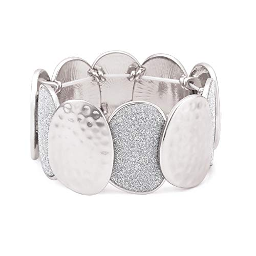 Seni Jewelry Hammered Druzy Bracelet Silver Glitter Chunky Stretch Bracelet Statement Elastic Bracelet Bangle for Women Girls (Silver)