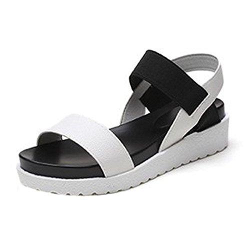 Hemlock Platform Sandals Thick Bottom Women Wedge Flats Shoes Slippers Flip Flops Beach Sandals (US:8.5, White)