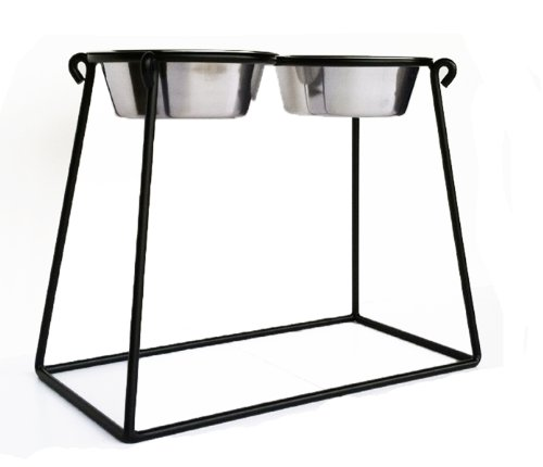 Pyramid Elevated Diner - XXL - 24' Tall - Black - Raised Dog Bowl Feeder - Pet Feeding Station -...