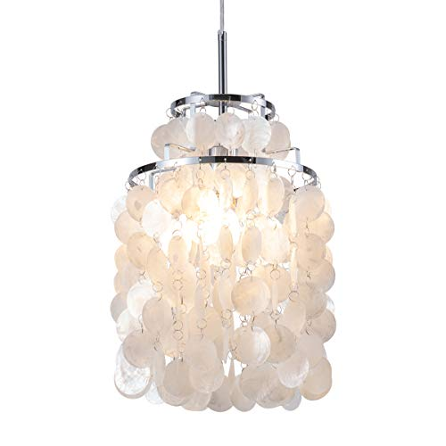 Modern Capiz Pendant Light Modern Coastal Shells Drops Chandeliers Contemporary Mini Hanging Ceiling Lighting for Kitchen Island Dining Living Room Bedroom White by ()