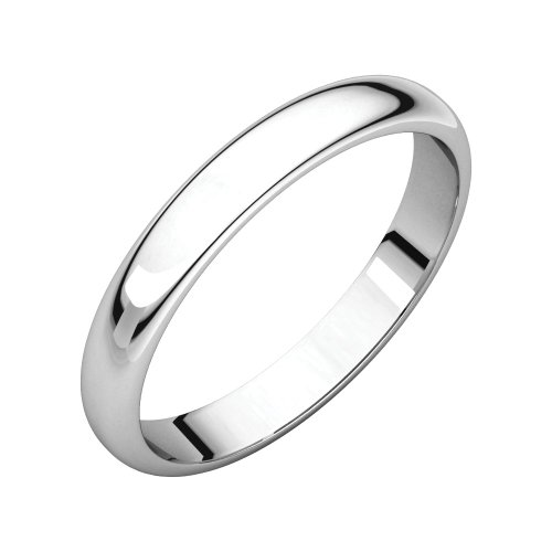 Security Jewelers 10k White Gold 4mm Half Round Light Band, 10kt White Gold, Ring Size 11 ()