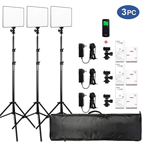 (VILTROX VL-200 3 Packs Ultra Thin Dimmable Bi-color LED Video Light Panel Lighting Kit includes: 3300K-5600K CRI 95 LED Light Panel with Hot Shoe Adapter/Light Stand/Remote Controller and AC adapter …)