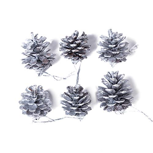 6 Pack Set Elegant Vintage Silver Pine Cones Christmas Ornaments Decorations Faux Fake Snow Xmas Tree Holiday Pinecone Decoration Accessories 1.75 Inches Each