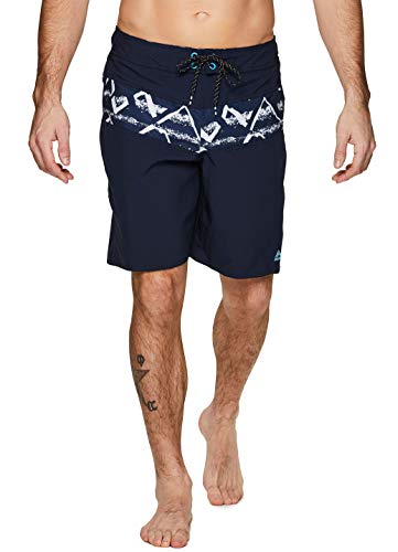 RBX Active Men's Printed Quick Dry Swim Trunks with Zipper Pocket Wave Navy M