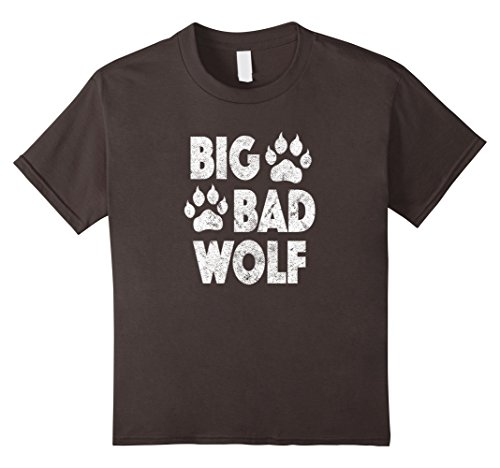 Big Bad Wolf Costume Child (Kids Big Bad Wolf Halloween Costume Paw Print T Shirt 4 Asphalt)
