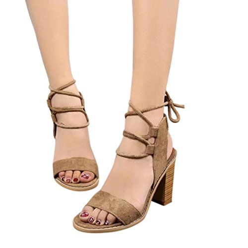 Fheaven Women Suede Peep Toe Lace Up Cross Tied Shoes Dikke Blokhak Bruin