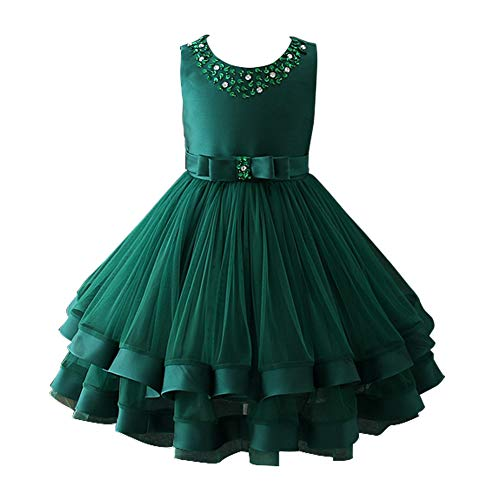 - Glamulice Christmas Dress Girls Ruffles Vintage Embroidered Sequins Lace Dresses Bridesmaid Birthday Party Gown 2-16Y (3-4Y, Dark Green)