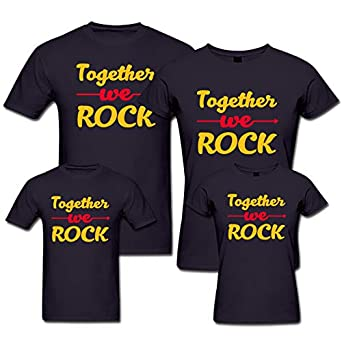 976f3601 Custom Panda Together We Rock Matching Family Tshirt - Set of 4 for Mom Dad  and Kids Navy: Amazon.in: Clothing & Accessories