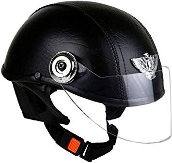 e4d4a290d1d Leather helmet-black-open face  Amazon.in  Car   Motorbike