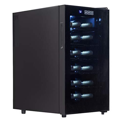 LHONE Mini Wine Cooler Fridge Freestanding Refrigerator Chiller Counter Top Wine Cellar with Digital Temperature Display Quiet Operation Fridge Black (18 Bottle) by LHONE (Image #6)