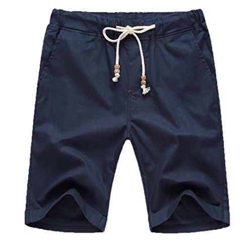vermers Hot Sale Men Summer Short Pants Linen Cotton Solid Beach Casual Elastic Waist Classic Fit Shorts(2XL, Navy) by vermers