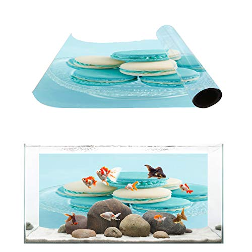 Fantasy Star Aquarium Background Macaron Dessert Fish Tank Wallpaper Easy to Apply and Remove PVC Sticker Pictures Poster Background Decoration 18.4
