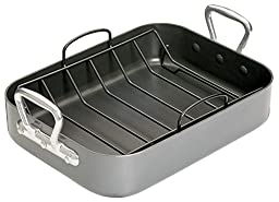 Roasting & Baking Pan V Shape Non Stick Rack, Heavy Duty Hard Anodized Aluminum Body – Oven Safe – Large 13''x16'' Size – For Turkey, Chicken, Lasagne & More