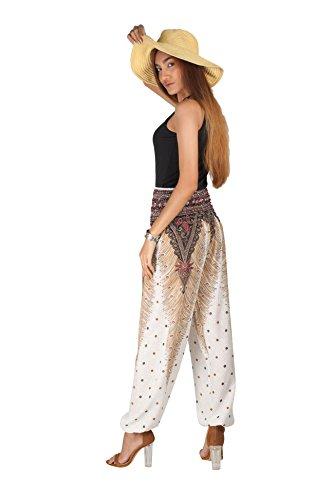 JOOP JOOP Bohemian Tapered Elephant Harem Loose Yoga Pants, White, S/M by JOOP JOOP (Image #5)