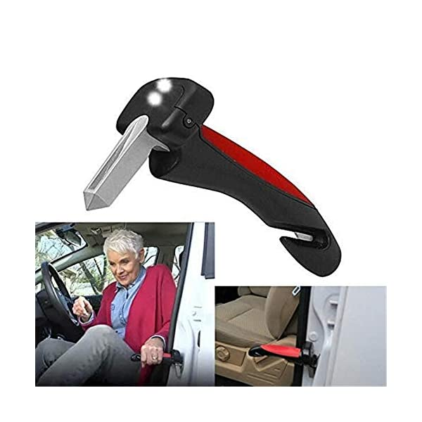 yangymx Coche Mango Movilidad Anciano Permanente Ayuda Bastón Auto Linterna Rompevidrios, Bastón para automóvil Mango… 2