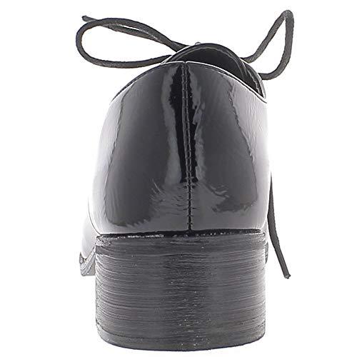 Talonette Et Derbies Lacets Noires 4cm Vernies À De Femme Chaussmoi 4Yqd00