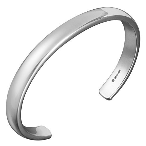 f6b5a7faaca72 Image Unavailable. Image not available for. Color  Mens Classic Curved Silver  Cuff Bracelet