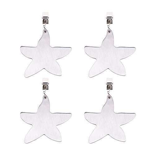 Cosmos ¨ Set of 4 Stainless Steel Starfish Shaped Table Cover Tablecloth Weights (Starfish)