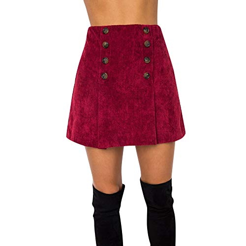 (Colmkley Women's High Waist Above Knee Double Breasted Bodycon Short Mini Skirt Red)