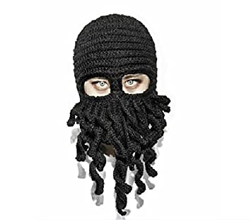 f65e44a6c81 Black Octopus Unisex Knitting Hat Full Face Biker Mask Facemask Ski Warm  Wind Sand Squid Cap