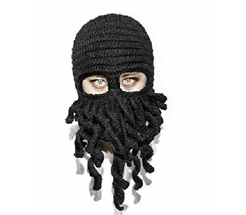 [Fashion Style Unisex Men Women Knit Wool Octopus Beanie Hat Cap Skiing Cycling Riding Costume Squid Mask Winter Wind Stopper Outdoor Sports Cosplay Balaclava Full Facemask Headwear] (Homemade Kids Halloween Costumes Unique)