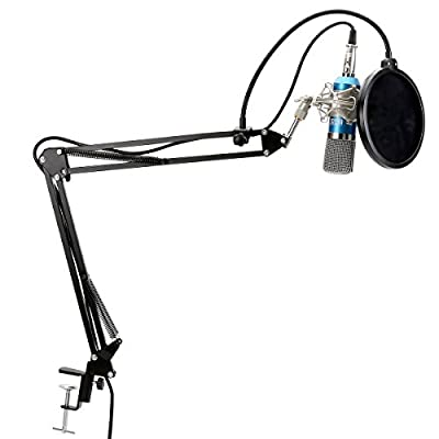TONOR XRL to 3.5mm Podcasting Studio Recording Condenser Microphone for Computer with Adjustable Microphone Suspension Boom Scissor Arm Stand and Microphone Kits from TONOR