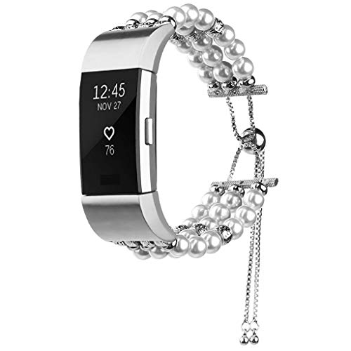 Sodoop Watch Band Compatible for Fitbit Charge 2, Women Fashion The Elasticity Handmade Adjustable Jewelry Bead Bracelet Strap Wristband for for Fitbit Charge 2 Fitness Tracker ()