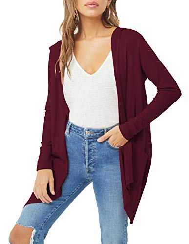 (Womens Plus Size Long Sleeve Hooded Cardigan Open Front Draped Cover up Coat Outwear with Two Pockets (Wine Red, 3XL))