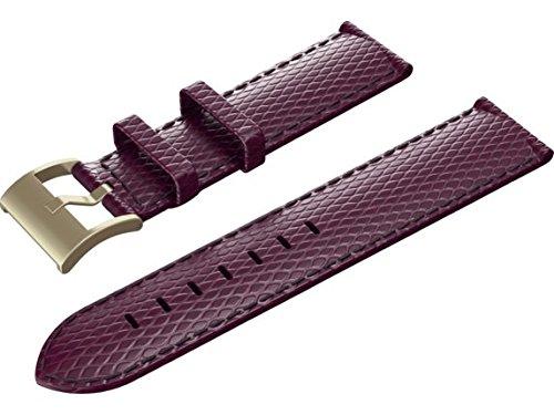 Isaac Mizrahi Y8Q09AA HP Smart Watch Band - Vivid Plum Lizard Strap with Gold Buckle