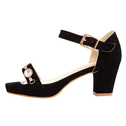 Carol Scarpe Moda Donna Fibbia Sexy Strass Cinturino Alla Caviglia Con Tacco Medio Sandalo Con Tacco Nero