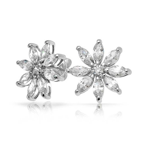 Marquise CZ Flower Stud earrings 925 Sterling Silver 14mm (Stud Cubic Zirconia Marquise)