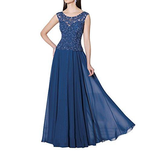 Dunkel Linie Langes Festlichkleider Blau Rock mia Brau A Abschlussballkleider La Brautmutterkleider Abendkleider Spitze Chiffon 7FgAxR