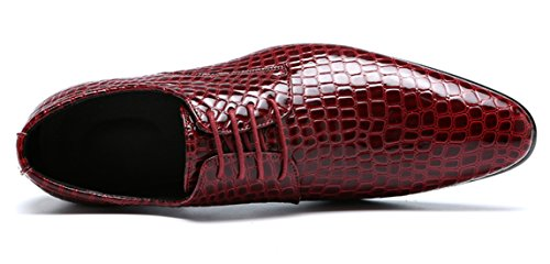 Oxford Jurk Schoenen Mannen Puntschoen Italië Alligator Lakleer Lace Up Bruiloft Formele Derby Schoenen Rood