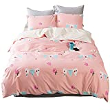 HIGHBUY Pink Queen Cotton Bedding Set with Floral Pattern Reversible Fresh Design Duvet Cover Set Full Bedding Collection Comforter Cover for Women Girls Lightweight Soft Zipper Closure Hotel Quality
