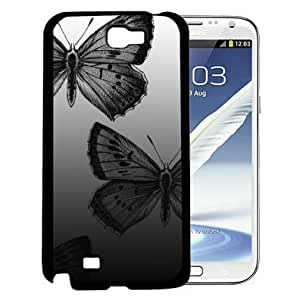 Black and Gray Large Beautiful Butterflies Design Hard Snap on Cell Phone Case Cover Samsung Galaxy Note 2 N7100 by lolosakes