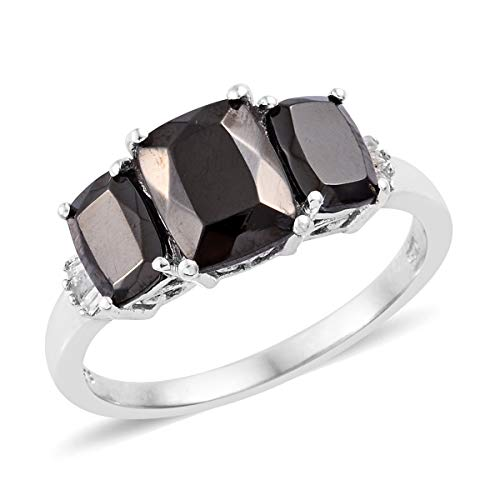 Journey Diamond Fashion Ring - Shungite Diamond Baguette Ring 925 Sterling Silver Platinum Plated Jewelry for Women Size 10 Ct 8.2