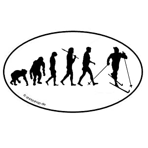 Skilanglauf Evolution Aufkleber Autoaufkleber Sticker Vinylaufkleber Decal